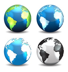 Set of Earth globe icons different color vector image vector image