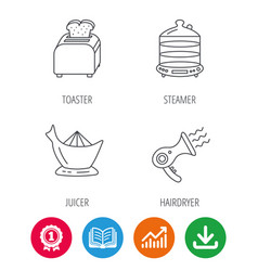 Steamer hairdryer and toaster icons vector