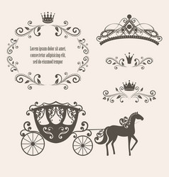 vintage royalty frame with crown vector image