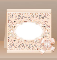 background card with a bow and delicate flower vector image vector image