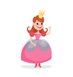 beautiful cartoon princess girl character in a vector image