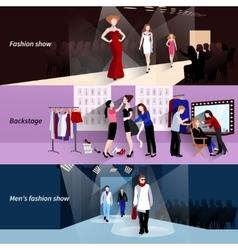 Fashion model catwalk banner set vector image vector image