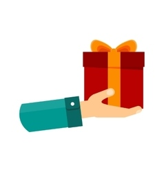 hand with gift vector image vector image