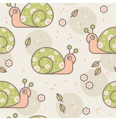 seamless pattern with cute snails vector image vector image