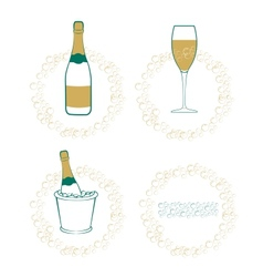 The wineglass bottle of wine in ice bucket vector image