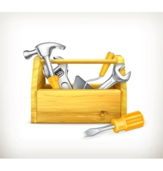 Wooden toolbox vector image vector image