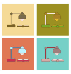 assembly flat icons lamp open book vector image