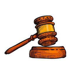 cartoon image of law icon judge gavel symbol vector image