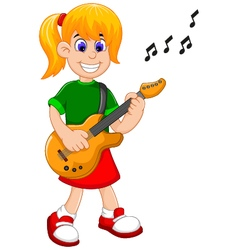 funny girl cartoon playing guitar vector image
