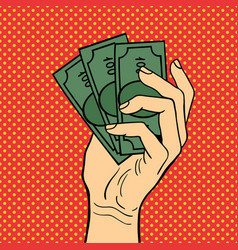 pop art hand money vector image