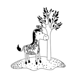 zebra cartoon next to the tree in black dotted vector image