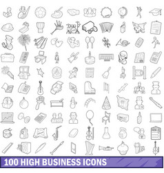 100 high school icons set outline style vector image vector image