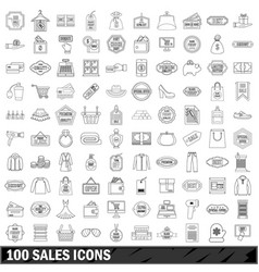 100 sales icons set outline style vector image vector image
