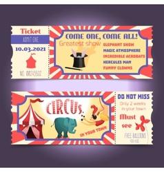 Circus retro tickets vector image vector image