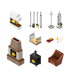 fireplace isometric elements set vector image vector image