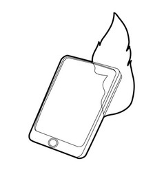 gadget in fire icon outline style vector image