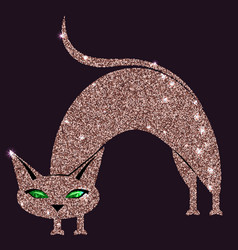 Gold rose cat with green eyes vector