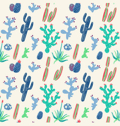 hand drawn cacti seamless pattern vector image