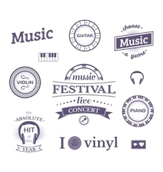 Music labels and logos vector image vector image