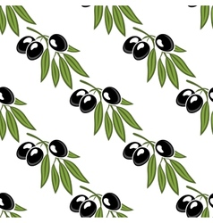 Seamless pattern of a leafy olive branch vector image vector image