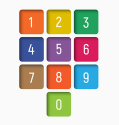 set of numbers from 0 to 9 in multi-colored vector image