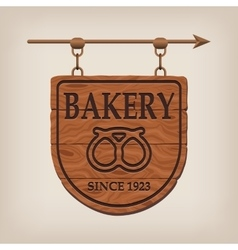 Vintage wooden bakery sign bakery vector image vector image