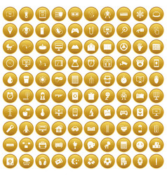 100 app icons set gold vector