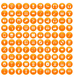 100 karaoke icons set orange vector