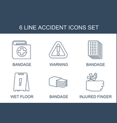 6 accident icons vector