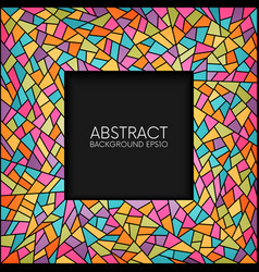 Abstract stained glass square frame vector