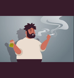 african american guy smoking cannabis joint fat vector image