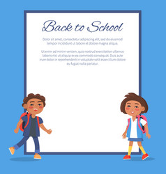 Back to school poster with brunette girl and boy vector