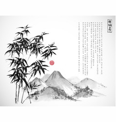 Bamboo tree and mountains hand drawn with ink on vector