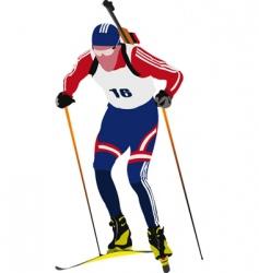 Biathlon skier vector