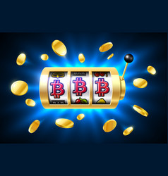Bitcoin jackpot cryptocurrency symbols on slot vector