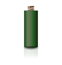 blank green cosmetic cylinder bottle with lid vector image