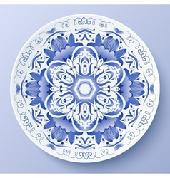 Blue floral ornament decorative plate vector image vector image