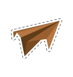 Brown paper plane project start up cut line vector