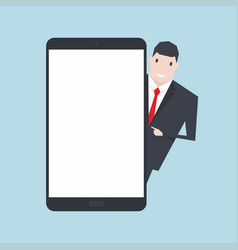businessman standing with blank screen tablet vector image