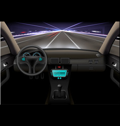 Car interior night vector