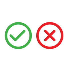 Check and cancel button yes and no symbol vector