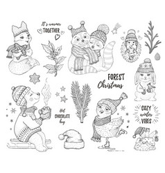 Christmas cute forest animals fox owl raccoon bear vector