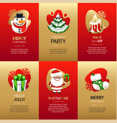 christmas greeting cards set with gold and red vector image