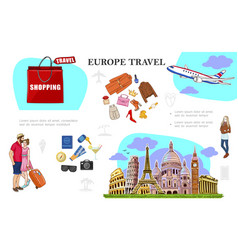 Colorful travel to europe concept vector