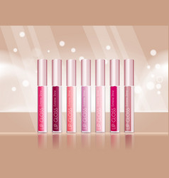cosmetic product glosses make up vector image