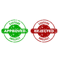 Customs approved and rejected rubber stamp seal vector