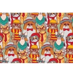 Cute cats group fashion hipster seamless pattern vector