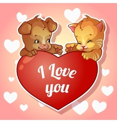 Cute puppy and kitten with hearts for Valentines vector