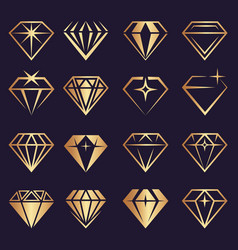 diamond logo stylized geometrical jewelry vector image