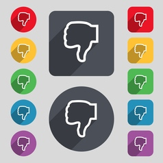 Dislike icon sign A set of 12 colored buttons and vector image